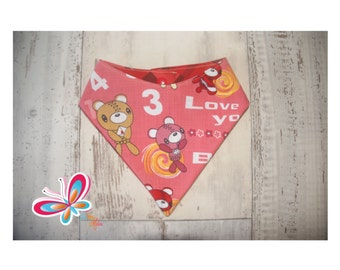 bandana reversible robot Teddy bear pink and Red back
