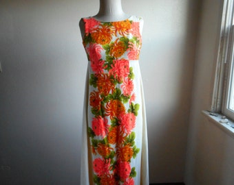 vintage 60s ui maikai Hawaiian floral empire waist zip up watteau back cotton maxi dress