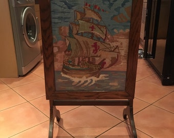 Vintage Wooden Fire Screen Come Table with Framed Embroidery