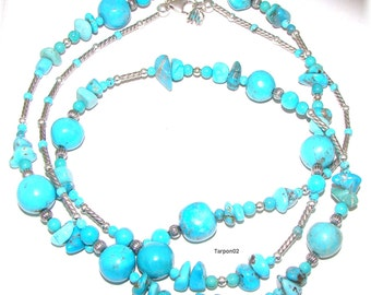"""Carolyn Pollack American West Turquoise Bead qvc Necklace 36""""   (42 Grams)"""