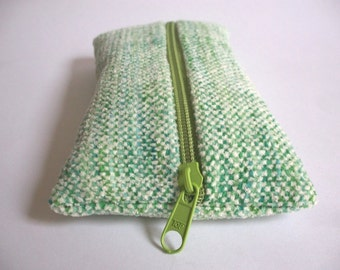 Pencil White hand-woven green chenille, for pens, to organize the handbag for Crimea stuff, hand-dyed cotton ooak