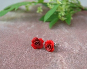 Small Red Rose Stud Earrings