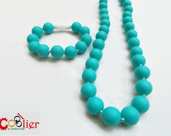 Turquoise teething silicone kit necklace and bracelet for moms, nursing necklace - beaded teething toy for babies