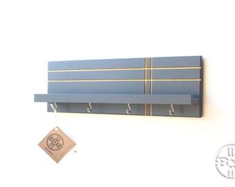Key Holder for Wall - Key Holder With Shelf, Key Hook, Modern Entryway Wall Storage, Gifts for Men, Hanging Key Holder, Wood Shelf, Shelving