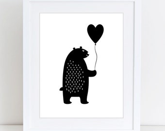 Bear print, Scandinavian, Kids print, Nursery decor, Kids room, Printable Wall Art, Childrens print, Digital, Instant Download 8x10
