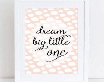 Dream big, Scandinavian, Girls room decor, Nursery, Kids room, Printable Wall Art, Childrens print, Digital print, Instant Download 8x10
