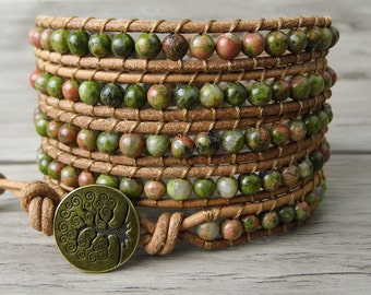 Gemstone bracelet Unakite bead wrap bracelet natural stone beaded wrap bracelet Boho bead bracelet gypsy bracelet bohemian bracelet SL-0153