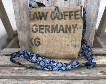Crossbody Burlap Coffee Bag Purse - Black with Blue Floral