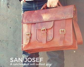 """Leather Satchel 15"""" / Leather Satchel Handbag / Mens Leather Satchel / Womens Leather Satchel / Leather Satchel Bag /  Leather Shoulder Bag"""