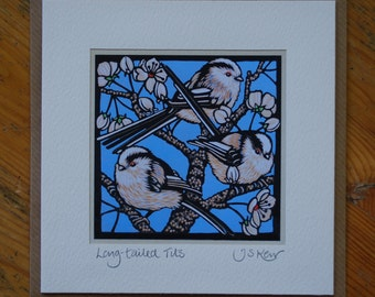 Long Tailed Tit Linocut Card, Handmade bird birthday card for her and mum