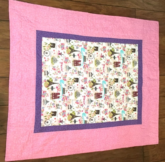 As Creation Pink Paris Pattern Eiffel Tower Childrens: Paris Quilt/Pink And Purple Eiffel Tower By OccasionalGoods