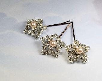 Swarovski Pearl Hair Pins, Set of 3, Wedding Hair Pins, Crystal Hair Pin, Star hair Pins, Wedding Jewelry, Bridal Hair Pins, Pearl Hair Pins