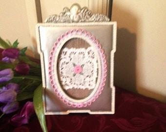 Valentine Ornate Burlap Frame, Cottage Chic Frame, Ornate picture frame Home Decor