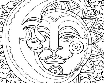 Sun Moon and Stars Coloring Pages