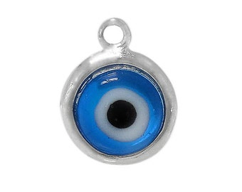 Evil Eye Blue Sterling Silver Charm, Evil Eye Pendant, Evil Eye Charm, Evil Eye Jewelry, Evil Eye Protection,Yoga,Wholesale Charms,Evil Eye