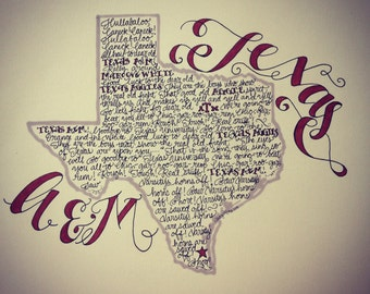 Texas A&M Aggie War Hymn Print - Hand-drawn, Texas Illustration, Texas Map, Aggies