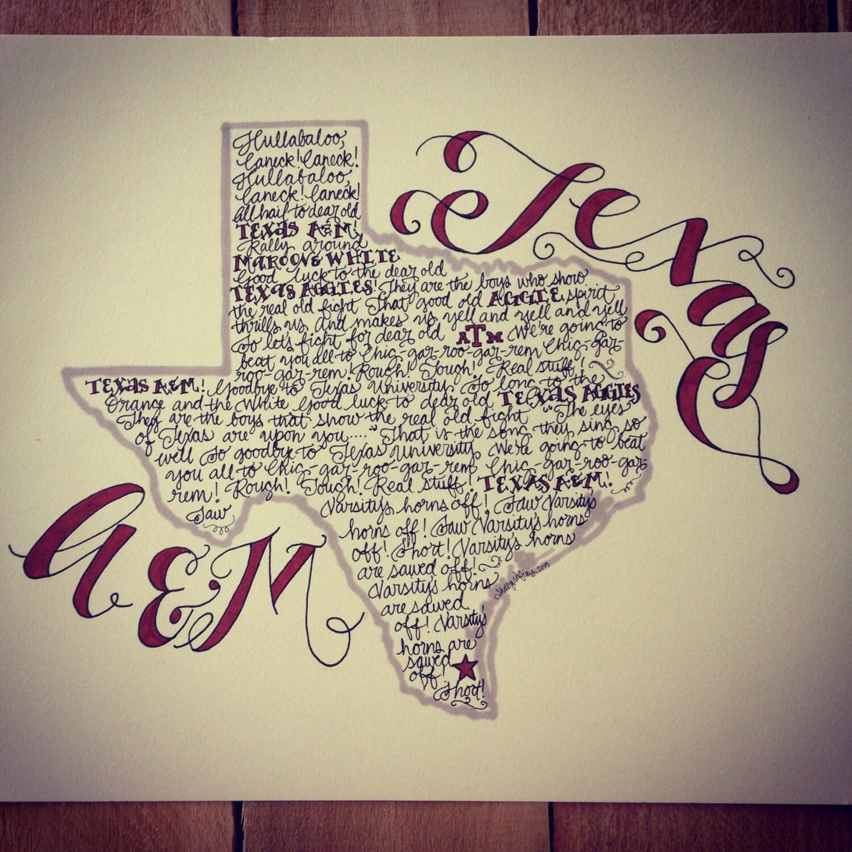 Color printing tamu - Texas A M Aggie War Hymn Print Hand Drawn Texas Illustration Texas Map Aggies