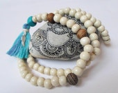 White Wooden Yoga Mala Necklace 8 mm, Japa Mala Blue Tassel Necklace, Mantra Meditation Mala Jewelry, 108 Beads Mala Necklace, Boho Necklace