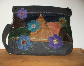 Patchwork Shoulder Bag in Wool and Cashmere, Hand-Embroidered