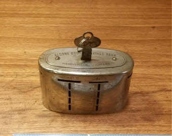 Vintage Travelling Teller Metal Alcona County Savings Bank Harrisville Michigan
