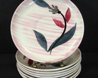 """MCM Stetson China Pink Wash Floral 6 1/4"""" Saucers x 8 Mid Century Modern"""
