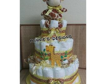 Baby Girrafe Diaper cake, Safari baby shower,  safari diaper cake , giraffe baby , baby shower, jungle baby shower, safari baby diaper cake