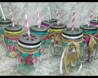 Customized and personalized Wedding Party Mason jars