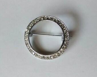 Vintage Silver Tone Clear Rhinestone Circle Brooch Pin Scarf Pin Purse Pin