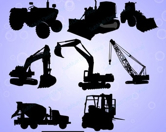 work vehicle / work vehicles silhouette / SVG file / Construction Machines Silhouettes / printable vehicle silhouette / vector EPS