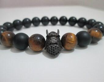 Vking bracelet, Vking skull bracelet, Onyx bracelet, Tiger eye bracelet, Mens stone jewelry, Mens bracelet, Stones bracelet, Gift for men