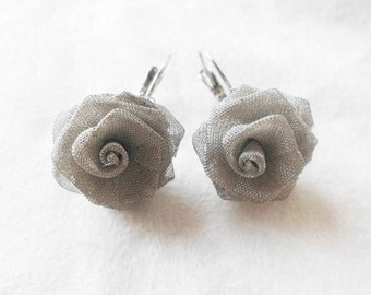 Silver Roses Earrings   clip on earrings