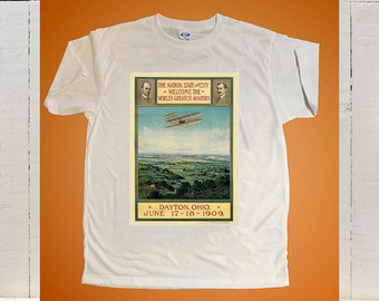 1909 Poster Celebrating The Return Of The Wright Brothers to Dayton, Ohio After A World Tour Printed On A T Shirt