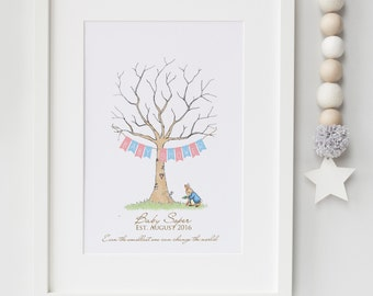 Personalised Peter Rabbit  Fingerprint Tree Baby Guestbook Alternative Print Keepsake Baby Shower Christening Gift First Birthday UNFRAMED
