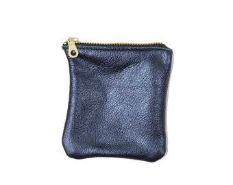 Cherry Ave - Large Metallic Blue Leather Coin Purse, Change Purse