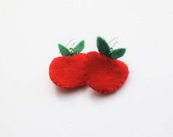Felt Apple Earrings