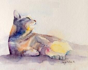 Original watercolor of a cat lying in the sun - original  painting of a cat