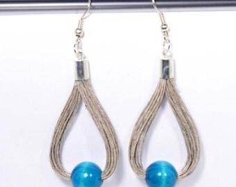 linen earrings bright blue ball