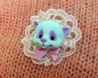 Mint panda brooch. Polymer clay