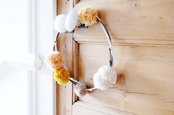 Pom pom wreath / home sweet home / wedding wreath / handmade / French gift / scandinavian / handmade present /  boho style / boho decor