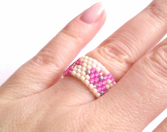 Pink Ring - Beadwoven Ring - Boho Jewelry - Seed Bead - Beadwork - Beaded Ring