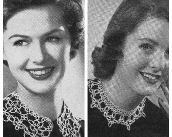 PDF PATTERNS, Vintage Retro Two Tatted Collars, Tatting Crochet, Instant Download (32)