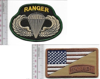 Ranger US Army 75th Infantry Regiment Airborne & Ranger Tab Parachutist Wings