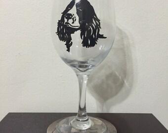 Springer Spaniel Wine Glass