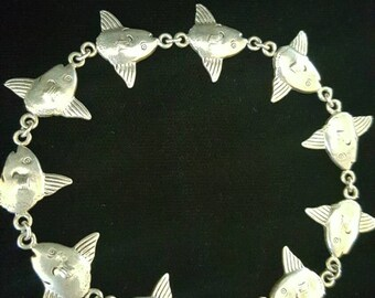 Sterling Silver Hand Made Flying Fish Chain Bracelet