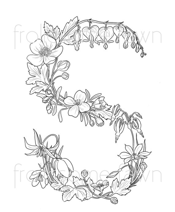Items Similar To Letter S Coloring Page For Adults