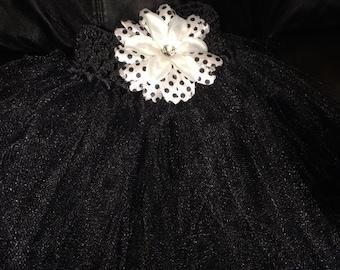 Black tutu with white flower
