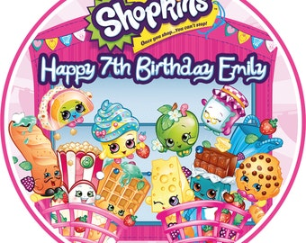 "Shopkins 7.5"" Edible Birthday Cake Topper Decoration Personalised"