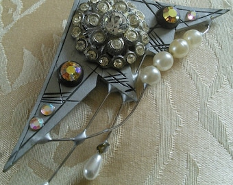 Artisan Post-modern Recycled Costume Brooch //  1980's handmade artisan pin, recycled materials, eco-friendly, po-mo