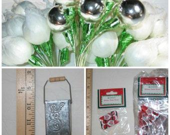 "Vintage Christmas Mercury Ornament 1"" Silver Balls, Miniature Snowman Tin Buckets, and Miniature Wooden Santas"
