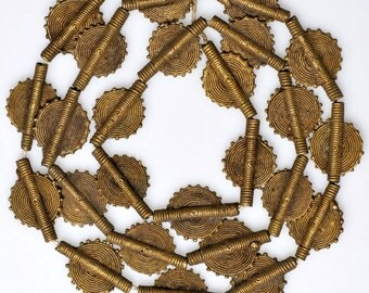Baule Bronze Beads - African Trade Beads fromIvory Coast - 2 Sizes -  26-28 Inch Strand